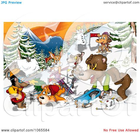Clipart Winter Recreation Animals Royalty Free