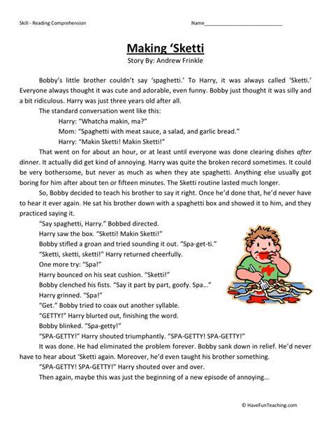 Reading Comprehension Worksheet  Making 'sketti
