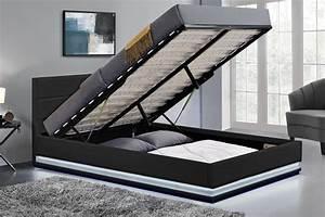 Cadre De Lit Avec Rangement : cadre de lit led avec coffre de rangement new york noir 160x200 cm concept usine ~ Teatrodelosmanantiales.com Idées de Décoration