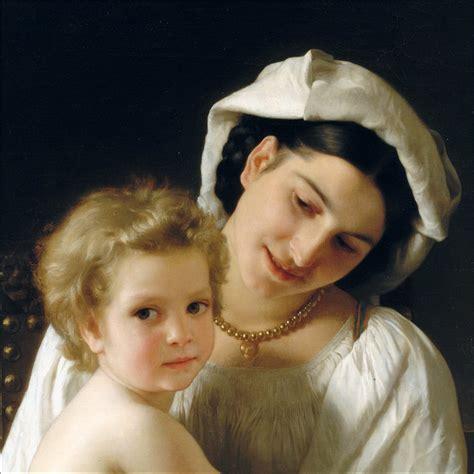 william bouguereau young mother gazing   child det