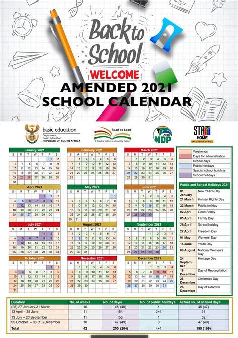 amended school calendar    south african
