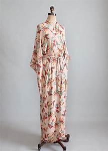 vintage 1940s tropical print rayon kimono robe kimonos With robe vintage love