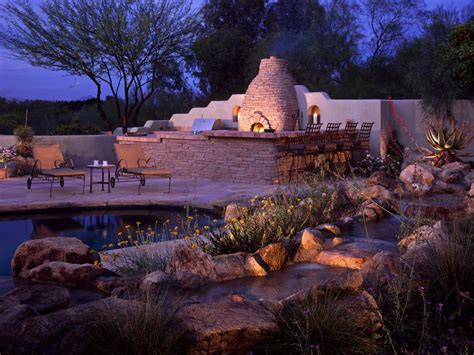southwestern pictures southwestern pool area with stone outdoor kitchen hgtv