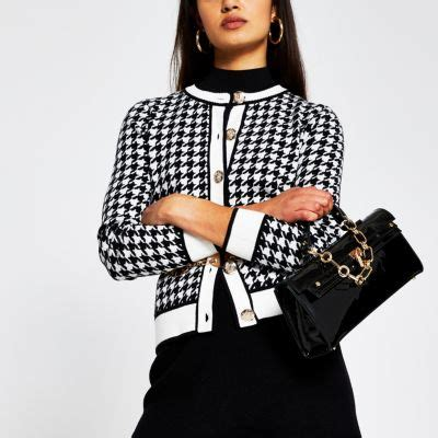 black dogtooth gold button detail cardigan river island