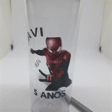 Homem Aranha Copo Long Drink de 350 ml com tampa e canudo