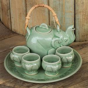 WHIMSICAL ELEPHANTCeladon Ceramic Tea SetThai ART