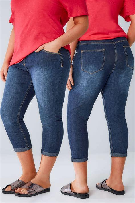 mittelblaue denim capri jeans