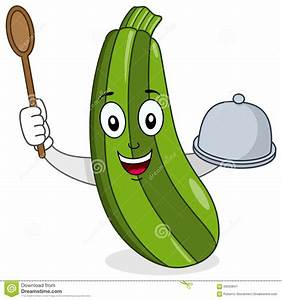 Zucchini Character With Tray And Spoon Stock Vector ...