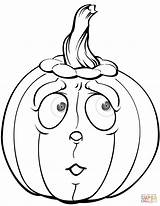 Pumpkin Coloring Pages Halloween Scared Pumpkins Printable Scary Drawing Clipart Jack Arms Paper Colorings Lantern Supercoloring Categories sketch template
