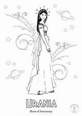 Greek Coloring Mythology Muses Gods Nine Illustrated Ancient Muse sketch template