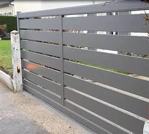 Portail Alu En Kit : portail alu coulissant motoris avec lames ajour es ~ Edinachiropracticcenter.com Idées de Décoration