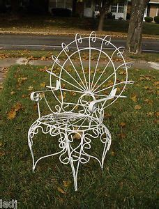 vintage pair large wrought iron peacock chairs outdoor