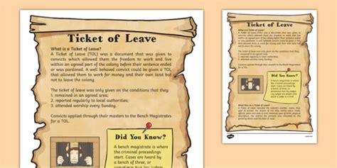 ticket of leave template the first fleet ticket of leave information sheet