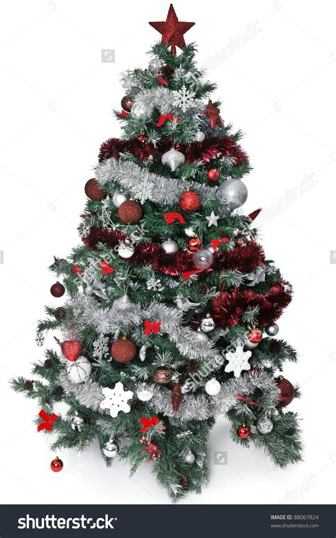 red  silver christmas tree decorations home design