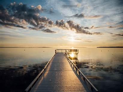 Dock Sunrise Lake Sky Pier Morning Cloud