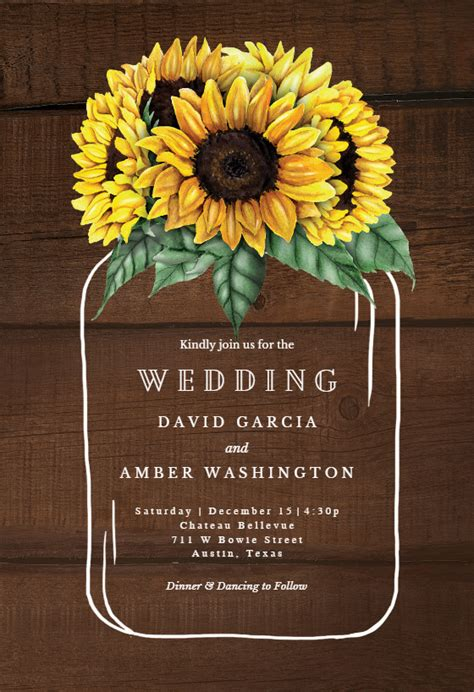sunflowers filled jar wedding invitation template