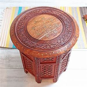 Indian, Handycraft, Small, Wooden, Decorated, Table, By, Pankaj, Webshop