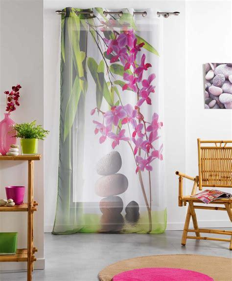 rideaux zen pas cher rideaux 140x240 cm voile voilage oeillets m 233 tal zen galet fleur tahiti