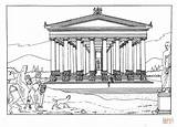 Temple Coloring Artemis Ephesus Pages Printable Parthenon Drawing Ancient Greece Paper Colouring Sheets Neo sketch template