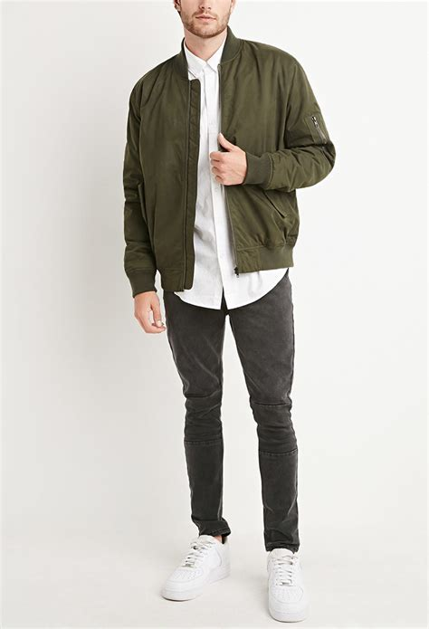 Forever 21 Padded Bomber Jacket in Green for Men | Lyst