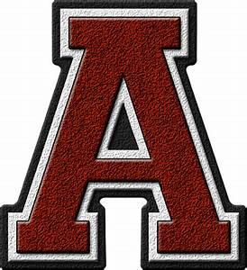 presentation alphabets garnet red varsity letter a With varsity letters