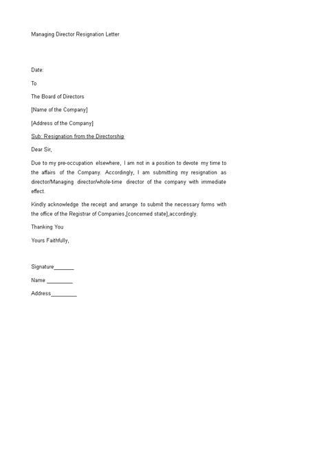 Managing Director Resignation Letter | Templates at allbusinesstemplates.com