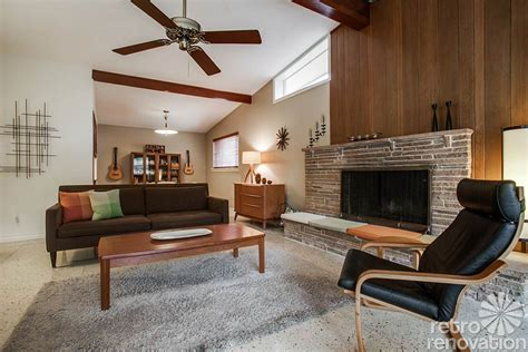 Living Room With Fireplace And Windows by 1956 Dallas Time Capsule House With Jack N Jill Bathroom