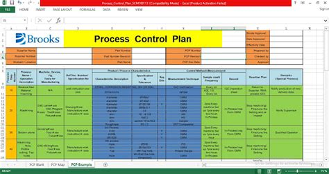 process control plan excel template