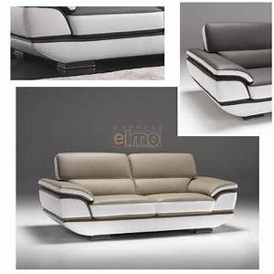Canape contemporain design moderne cuir bicolore option for Canape convertible moderne design