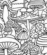 Coloring Trippy Mushrooms Prints sketch template