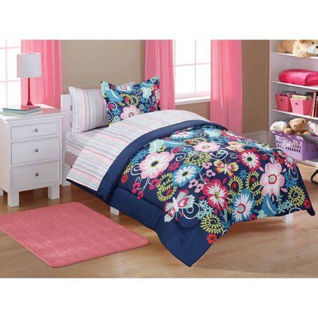 28053 mainstays bedding set mainstays bed in a bag navy floral walmart