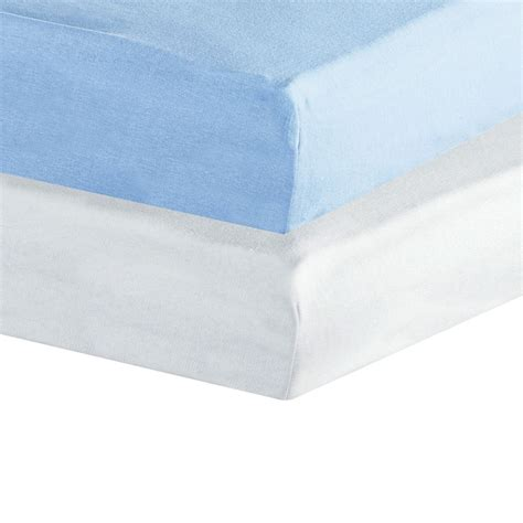 set of 2 fitted sheets jersey blue white 60x120 cms kinousses kinousses
