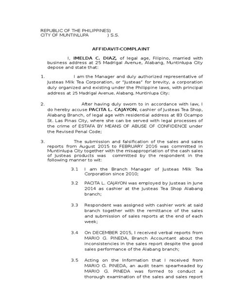 Sample Complaint Affidavit for Estafa Case | Criminal