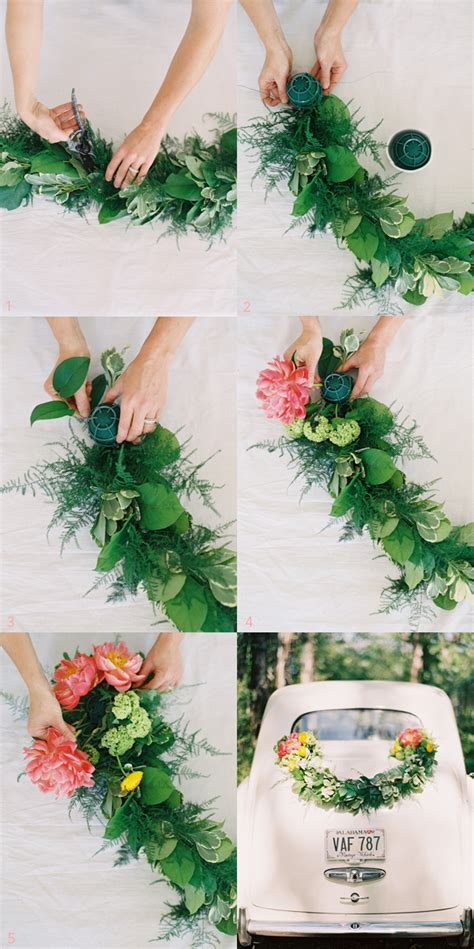 diy wedding getaway garland  wed