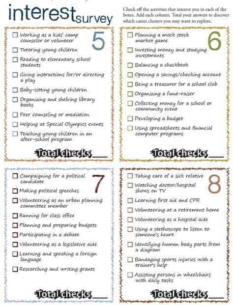 sample high school career survey printable samples