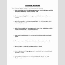 Word Equations Worksheet Chemistry Tessshebaylo