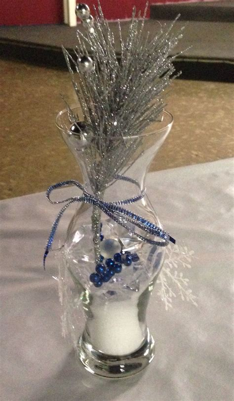 Silver And Blue Winter Wedding Centerpieces Winter