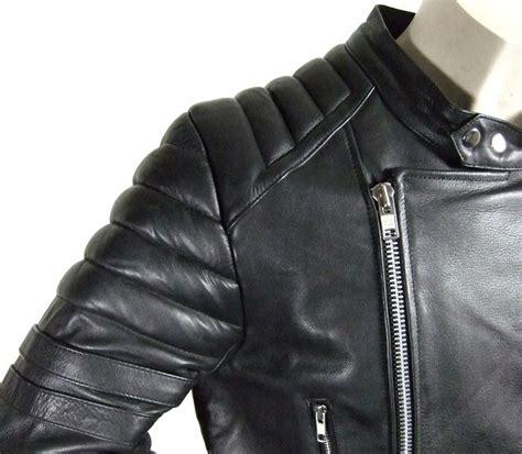 motorradjacke herren leder herren retro motorrad lederjacke leder motorradjacke l schwarz weiss ebay