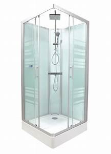 Cabine integrale avec 2 portes coulissantes 80x80x230cm for Porte de douche coulissante avec mobilier salle de bain vintage