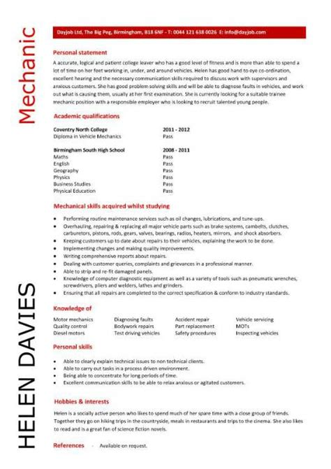 free resume templates for auto mechanic student entry level mechanic resume template