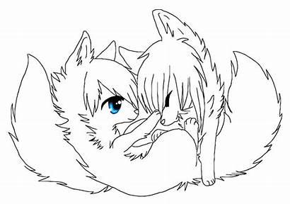 Wolf Couple Lineart Deviantart Favourites
