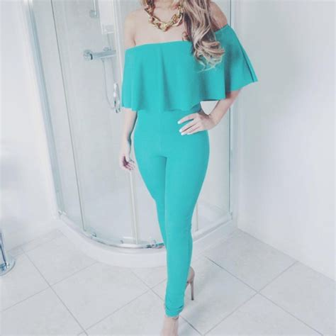 turquoise jumpsuit jumpsuit green turquoise chain heels the shoulder