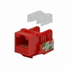 Keystone Jack Cat6 Red Network Ethernet 110 Punchdown 8p8c