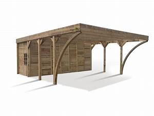 Remise En Bois Pour Jardin : carport couvert double aymar avec remise en bois traite ~ Premium-room.com Idées de Décoration