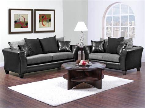 Casual Contemporary Black & Gray Sofa & Love Seat Living Room Furniture Set