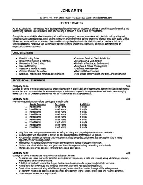 licensed realtor resume template premium resume sles