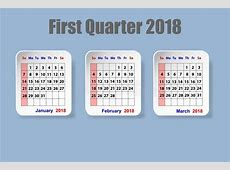Calendar For First Quarter Of 2018 Year Stock Vector
