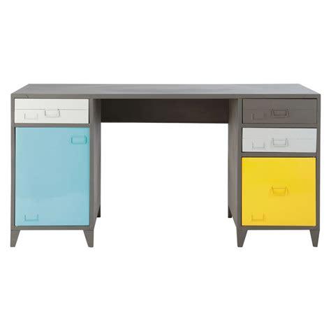 bureau gris bureau indus en métal gris l 150 cm espace maisons du monde