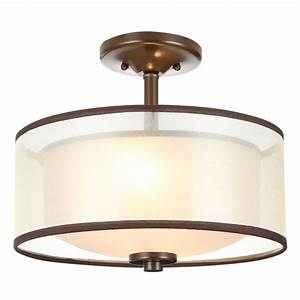 Hampton bay 2 light bronze semi flush mount light with for Bronze semi flush mount light