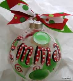 personalized christmas ornament hand painted by sassyfrasdesignz